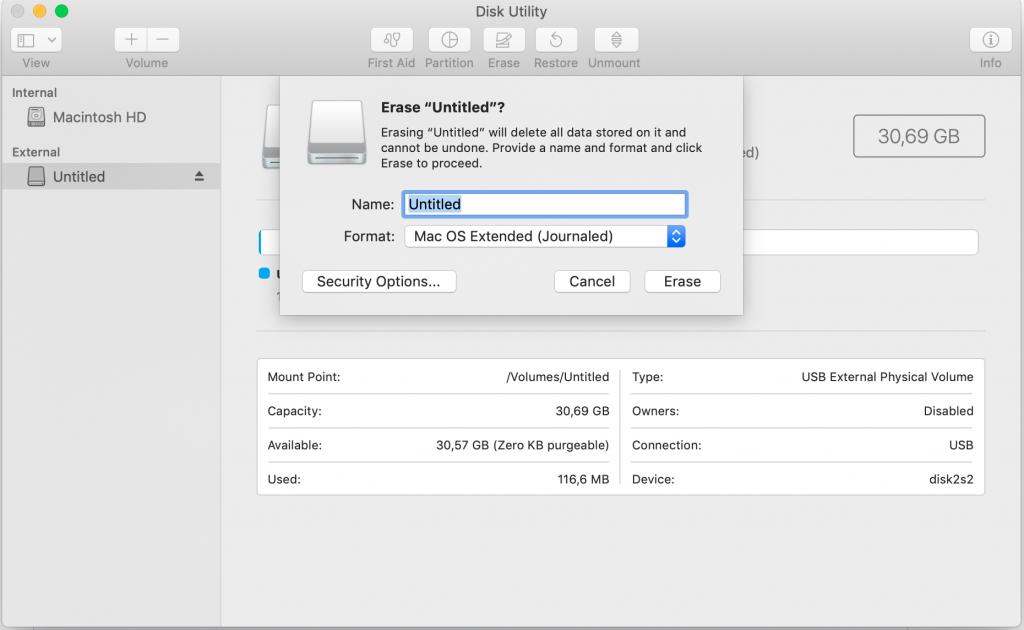Mac OS Disk Utility - formatting USB drive